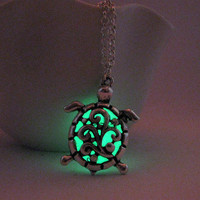 Glow in the Dark Tiny Turtle Charm Necklace, Silver Finish, Green Glow Unique Gift