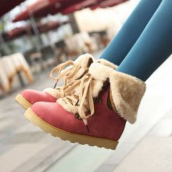 Wholesale Round toe leisurely color matching warm-keeping boots Z-FF108 red - Lovely Fashion