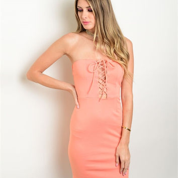 Peach Lace Up Dress