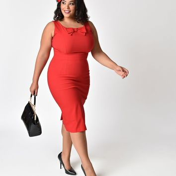 Stop Staring! 1940s Style Plus Size Little Red Wiggle Dress