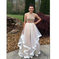 Two Pieces Prom Dress Evening Party Gown pst0809