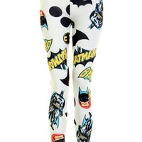 White Batman Print Leggings - Womens Clothing Sale, Womens Fashion, Cheap Clothes Online | Miss Rebel