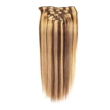 Bayalage Human Hair Clip In Extensions Straight Full Head Set 7pcs