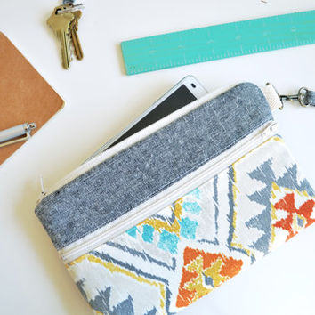 Phone Sleeve, Phone Pouch, Phone Purse, Phone Wristlet, iPhone, Galaxy S4, Galaxy S5, Padded - Southwest