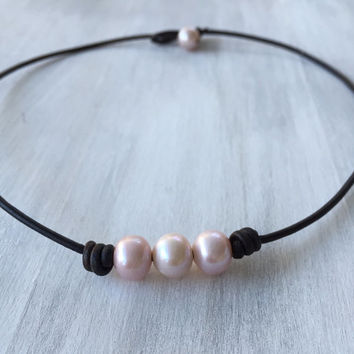 Freshwater pearl necklace, blush pearls, pearls on leather, pink pearls, leather and pearls, pearl necklace, pearls