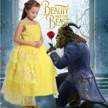 2017 movie Beauty and the Beast Belle cosplay costume kids princess Belle dress baby girls cotton Bronzing Children party dress