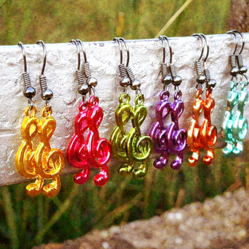 Pink Music Note Earrings - Bohemian Handmade Treble Clef Jewelry - 6 Colors To Choose From!!!