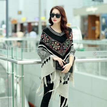 2016 New Hot Sale Fashion Autumn Winter Women Oversized Wool Pullovers Sweaters Bat Sleeve shawl poncho SW085