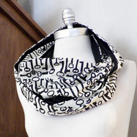 Fabric Infinity Scarf, Skeleton Key Print, Graphic Print, Antique Look, Black and Cream 100% Cotton, Loop Scarf, Eternity Scarf