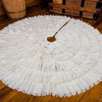 Creme Fringed Burlap Tree Skirt