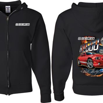 Ford Mustang Full Zip Hoodie Red Shelby GT500 Front and Back