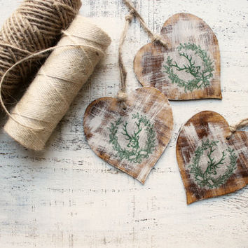 Woodland wedding favors wooden heart ornaments Valentines day decor Valentine gift off white green brown bridal shower boho wedding favors