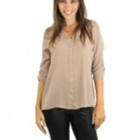 Taupe Blouse With ¾ Sleeves