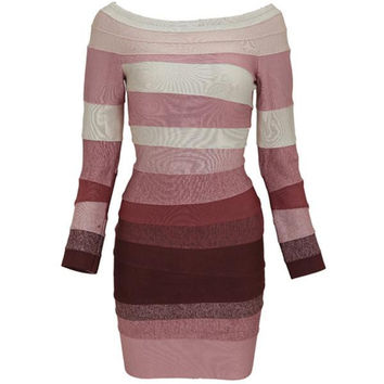 Aliexpress.com : Buy Free Shipping New Arrival On Women Party Trending  Ombre Long Sleeve And Off The Shoulder Bandage Dress H234 from Reliable Party Dresses suppliers on Fashion Lady Mail