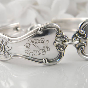 Personalized Bracelet, Spoon Bracelet, PERSONALIZED CUSTOM MONOGRAM,  Spoon Jewelry, Silverware Bracelet, Custom Engraved