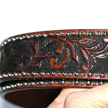 Vintage Tony Lama Leather Belt   Men's Tooled Leather Western Belt Add Own Buckle Style Silver Beaded Edge Detail Size 40 Square Dance