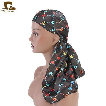 Colorful flower skull tower design silky satin women durag floral print Bandanas Headwrap do doo rag Hair Accessories