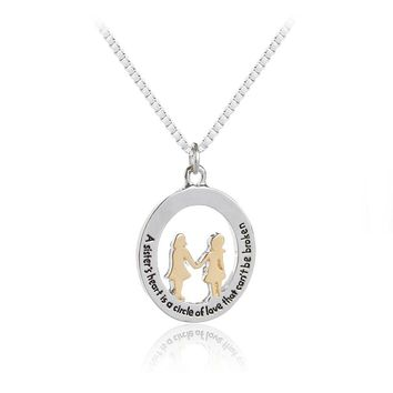 sister Necklaces A sister's heart is a circle of love that can't be broken Necklace girls Jewelry gift for bestfriend friendship