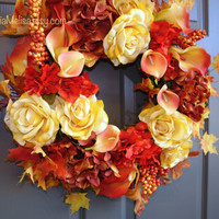 wreaths fall autumn Thanksgiving wreaths ETSY wreath  birch bark vase, front door wreaths fall outdoor wreaths