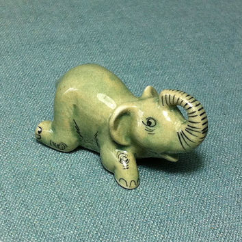 Miniature Ceramic Elephant Laying Animal Funny Cute Little Tiny Small Light Grey Figurine Statue Decoration Hand Painted Collectible Figure