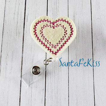 Cream and Red Heart Badge Holder with Retractable Badge Reel. Designer Lanyard Badge Holder for Office Worker / Teacher/ Coworker / Nurse