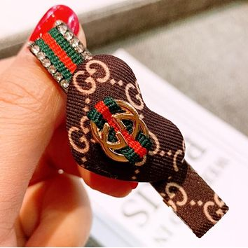 GUCCI Fashion New More Letter Bow-Knot Personality Hair Clip Accessories Coffee