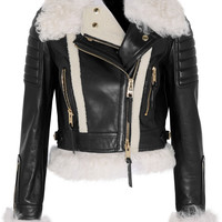 Burberry Prorsum - Cropped shearling-trimmed leather biker jacket