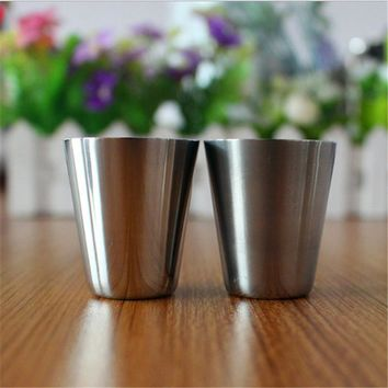 6 PCs 3.6 x4.2cm Happy Gifts New Stainless Steel Shot Glass Wine Cup Stainless Steel Cup Drinking Coffee Tea Camping Mug