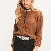 Missguided - Brown V Neck Back Slouchy Cropped Sweater