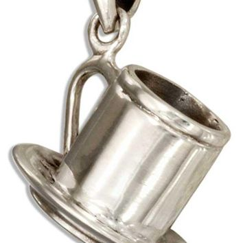 Sterling Silver 3d Coffee Mug And Saucer Pendant