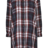 MATERNITY Definitives Oversized Checked Shirt - Deep Berry