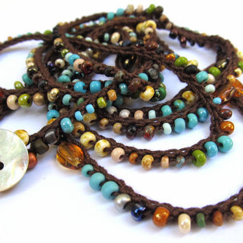 "Crochet wrap bracelet or necklace, beaded, ""earth and stones"", brown, turquoise, bohemian, ooak"