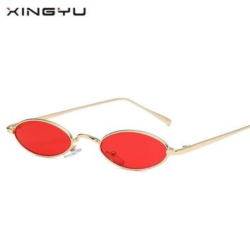 XINGYU2018 New Small Oval Sunglasses Women Men Retro Metal Glasses Transparent Pink Yellow Lens Female Sun Glasses UV400