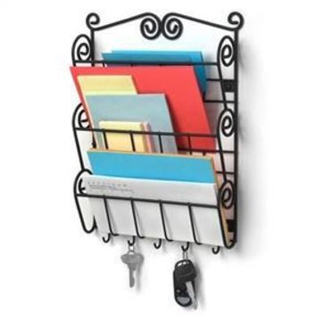 Wall Mounted Letter Holder Mail Sorter in Black Metal with Key Hooks