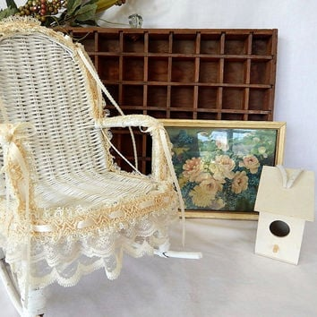 Vintage Wicker Rocking Chair Doll Size