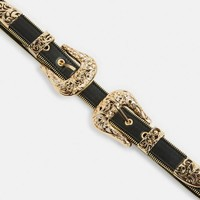 Missguided - Black Double Western Gold Buckle Zip Trim Belt