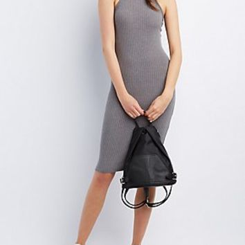 RIBBED BIB NECK BODYCON DRESS