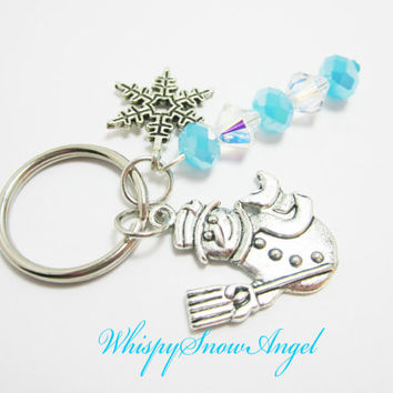 Snowman and Snowflake Charm Keychain with Clear Swarovski AB Bicones Glacial Blue Crystal Rondelles