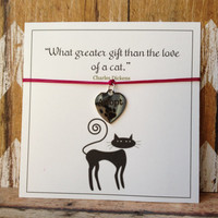 Cat Lover Bracelet, Adopt Charm, Charles Dickens Quote