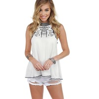 White Embroidered Mock Neck Blouse