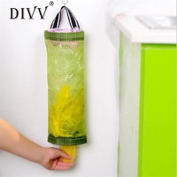 DIVV organizer Hanging Home Grocery Bag Holder Wall Mount Storage Dispenser Plastic Kitchen Organizer u70310 DROP SHIP