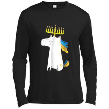 Funny Jewish  Unicorn Menorah  Kids Girl Hanukkah Long Sleeve Moisture Absorbing Shirt