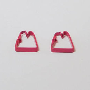 Painted Metal, Clip On Pink Earrings, 70s Vintage, Groovy, Hippy, Hot Pink, Hippie Jewelry, Enameled, Never Worn, Boho, Triangle Shaped