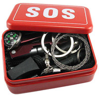 SOS Survival Emergency Gear Self Help Outdoor Camping Hiking Tools Box Kit SetHU