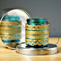 Hand PaintedMoroccan Jar Candle/ Hanging Mini Lantern by LITdecor