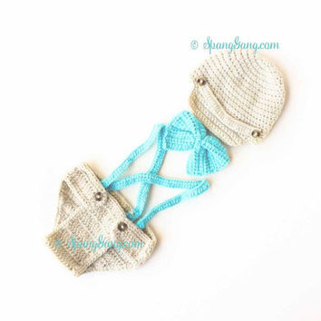 Baby Boy Crochet Outfit Photo Prop. 4 piece Newsboy Hat Suspenders Bow tie Diaper Cover Infant Bowtie Knitted Cap