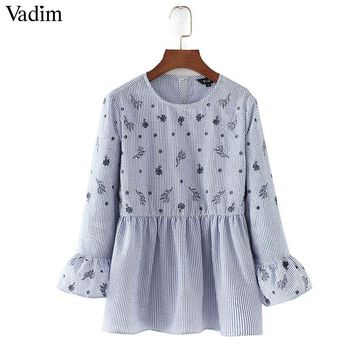 Vadim women sweet ruffles floral embroidery striped shirts long sleeve pleated blouse
