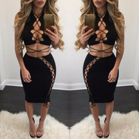2017 Spring Summer Bodycon Bandage Dress Black Hollow Out Lace Up Two Piece Set Outfits Sexy Party Night Club Dress Vestidos