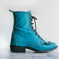 Grunge Lace up Robins Egg Blue Justin Roper Boots