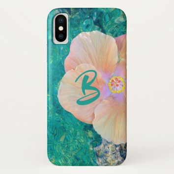 Hibiscus on turquoise water phone case